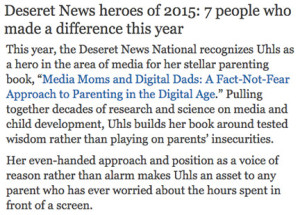 Yalda was named a hero of 2015 by Deseret News.